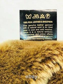 100% REAL SHEEPSKIN SHEARLING LEATHER BOMBER B3 PILOT Coat Jacket S-8XL, WHISKEY
