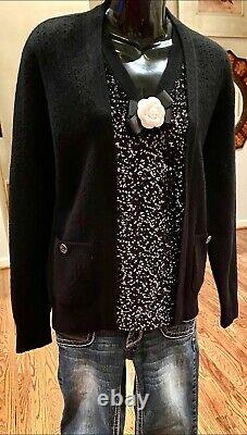 $3800 NWT CHANEL 2014 Twin Set Sequin Black Jacket Cardigan 34 36 38 40 Top 14a