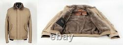 $8500 NWT LORO PIANA CENTRAL PARK Castorino Beaver Fur Lined Bomber Beige L