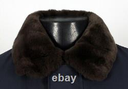 $8500 NWT LORO PIANA CENTRAL PARK Castorino Beaver Fur Lined Bomber Blue S