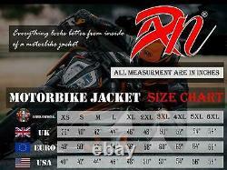 ARN Genuine Leather Motorbike Motorcycle Jacket Black Biker With CE Armour Black