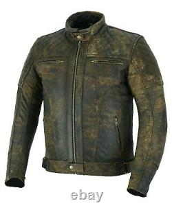 ARN Vintage Leather Motorbike Motorcycle Jacket Touring With Genuine CE Armour