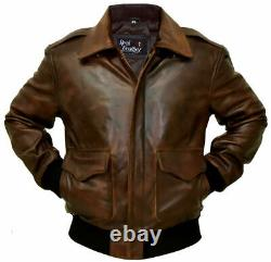A-2 G-1 Brown Bomber Aviator Men's Flight Navy Distressed Real Leather Jacket