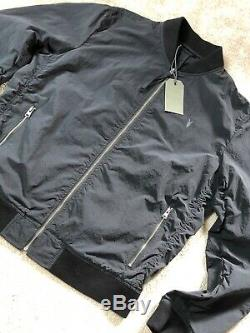 All Saints Black Fleet Zip Logo Bomber Jacket Coat Small New & Tags