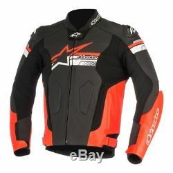 Alpinestars Fuji Black Red Leather Motorcycle Jacket NEW