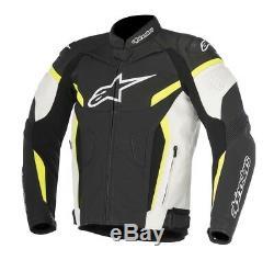 Alpinestars GP Plus R V2 Black White Yellow Leather Motorcycle Jacket NEW