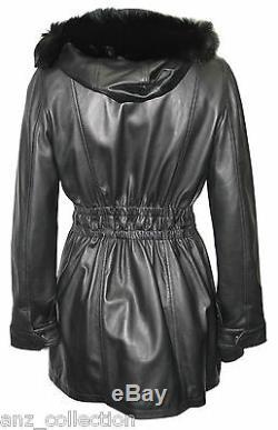 Angel Ladies Black Trench Mid Length Fur Hooded Designer Leather Jacket Coat