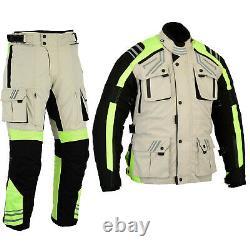 Australian Bikers Gear 2PCS SUIT HiViz Waterproof Motorcycle Jacket + Trouser