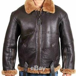 Aviator Mens RAF B3 Flying Bomber Fur Shearling Sheepskin Leather Jacket for Men