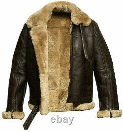 Aviator Pilot RAF B3 Flying Bomber Fur Shearling Sheepskin Leather Free Shipping