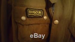Barbour Rexton International 38 Steve McQueen waxed cotton. U S. Flag lined
