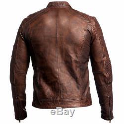 Best Selling Cafe Racer 1 Motorcycle Vintage Brown Biker Genuine Leather Jacket