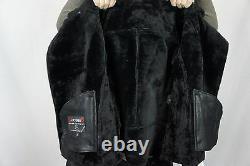 Black 100% Shearling Leather Sheepskin Pilot Bomber Aviator Jacket Coat XS 6XL