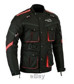 Black Motorbike Motorcycle long Jacket Waterproof Textile Armour CE Cordura UK