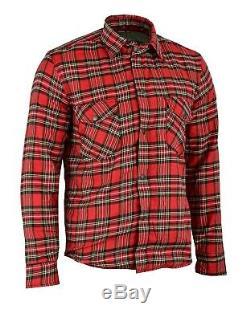 Black Tab RED Motorcycle Shirt FULLY Reinforced Protective Kevlar Lining Armour