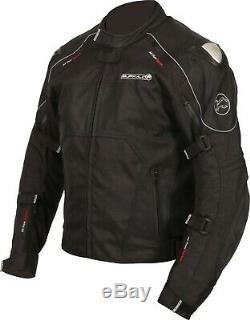 Buffalo Men's Atom Jacket Black Waterproof Leather Textile Motorcycle Jacket NEW