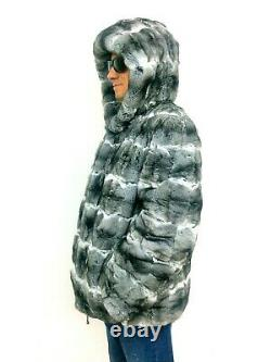 CHINCHILLA FUR MEN'S HOODED JACKET Coat Size XL Real Genuine 100% Natural NEW