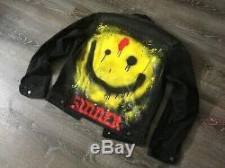 Custom handmade spray painted smiley face IGOR black denim jean jacket sz. M NEW