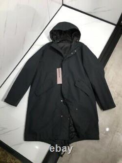 DIOR AND SHAWN HOODED PARKA Jacket Raincoat Black Size 46/Medium