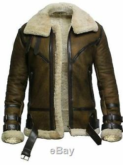 DUNKIN Men's Genuine Leather Jacket Bomber fur Sheep Skin XS-5XL Aviator
