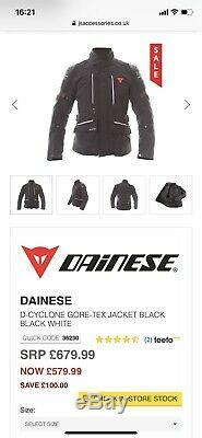 Dainese D-Cyclone Gore-Tex GTX Jacket Black Waterproof Motorcycle Jacket NEW
