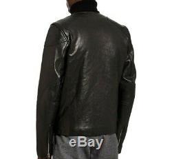 Designer YMC Black MC5 Soft Leather Collarless Bomber Biker Moto Jacket M 38 New