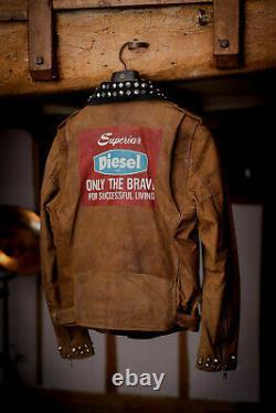 Diesel Men's Studded Leather Moto Motorcycle Jacket Logo Graphics Biker Large