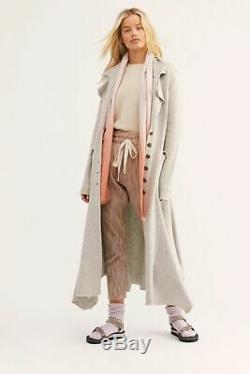 Free People BONANZA Wool blend Maxi Duster Coat Jacket LARGE Brand NEW Gray