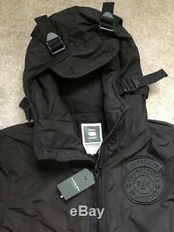 G-star Raw Men's Black Batt Hooded Overshirt Jacket Coat Large New & Tags