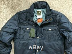 G-star Raw Men's Saru Blue Filch Padded Zip Jacket Coat Large New & Tags