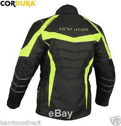 Ghost Rider Black Hivis Neon Waterproof Motorcycle Motorbike Armour Jacket