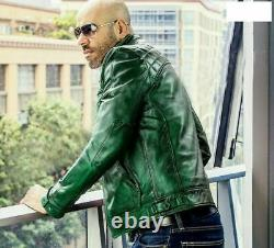 Green Biker Cafe Racer Motorcycle Mens Retro Style Slim Fit Real Leather Jacket
