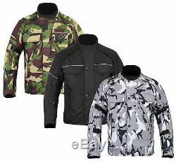 Grey Green Camouflage CE Armoured Waterproof Motorcycle Cordura Jacket S 7XL