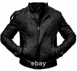 Guardians of the Galaxy 2 Star Lord Chris Pratt Black Leather Jacket