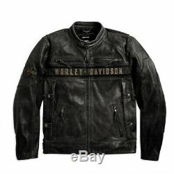 HARLEY-DAVIDSON Men's PASSING LINK Genuine Cow Leather Riding Jacket Distressed