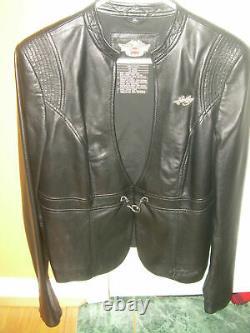 Harley Davidson Biker Woman's Black Leather Jacket XL