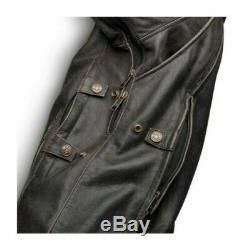 Harley Davidson Limited Edition Triple Vent System Antique Brown Leather Jacket