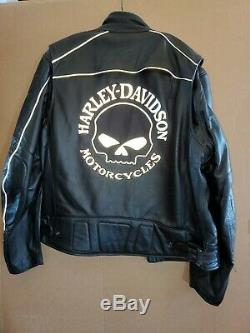 Harley Davidson Men Reflective Willie G Skull Black Leather Jacket with liner NEW