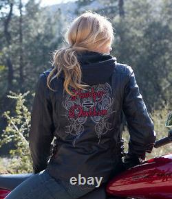 Harley Davidson Women's Solstice Black Leather Jacket Hoodie 3in1 97139-13VW S