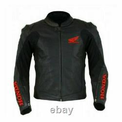 Honda Black Motorbike Track Days Cowhide Leather Ce Protectors Jacket