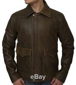Indiana Jones Harrison Ford Brown Vintage Genuine Sheep Skin Real Leather Jacket