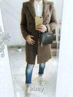 Jaeger Ladies Brown Checked Double Breasted City Winter Coat Long Jacket 6 16