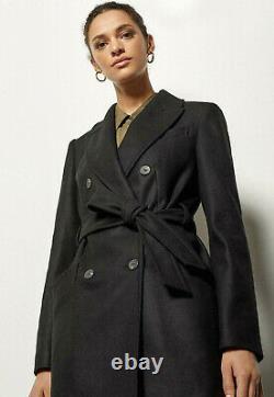 KAREN MILLEN Belted Wrap Winter Warm Coat Smart Jacket in Black