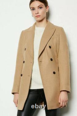 KAREN MILLEN Double-Breasted Belted Wrap Winter Warm Coat Smart Jacket in Camel