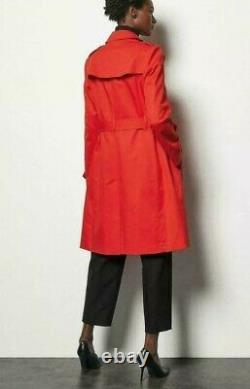KAREN MILLEN Double Breasted Trench Coat Jacket with Tie Belt in Red sizes 6-12
