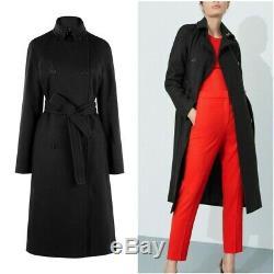 Karen Millen Black Sleek Tailored Trench Belted Military Coat Jacket 6 to 16 New