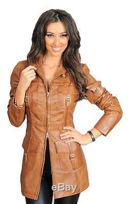 Ladies 3/4 FITTED Leather COAT Carol Tan High Fashion Latest SOFT Leather Jacket