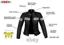 Ladies Motorcycle Waterproof Leather Jacket Women Motorbike Armours Jacket Black