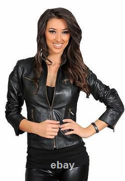 Ladies REAL leather BIKER designer jacket Jenny womens black fitted zip up Coat