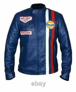 Le Mans Steve McQueen Blue Leather Jacket